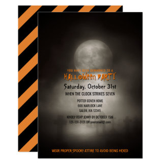 Halloween Party Spooky Moonlight Graveyard Card