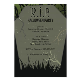 Halloween Party Tombstone Card