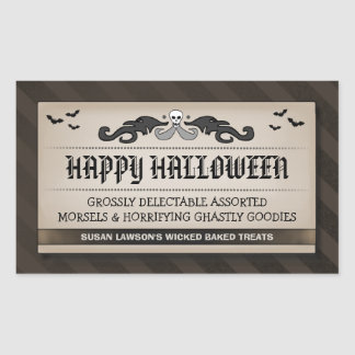 Halloween Party Treat or Drink Black Brown Label Stickers