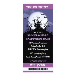 Halloween Party VIP Pass 10 Cm X 24 Cm Invitation Card