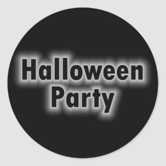 Halloween Party White Glow Classic Round Sticker