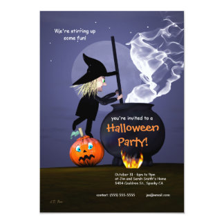 "Halloween Party Witch and Cauldron 5"" X 7"" Invitation Card"