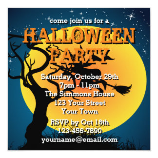 Halloween Party Witch On A Broomstick 13 Cm X 13 Cm Square Invitation Card