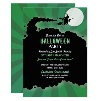 Halloween Party Witch Scary Broomstick Invitation