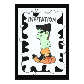 Halloween party zombies 5x7 paper invitation card