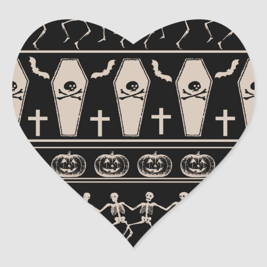 Halloween pattern heart sticker