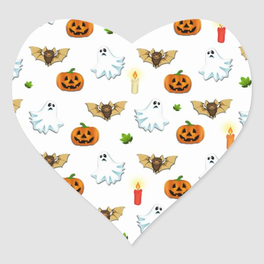 Halloween pattern heart sticker