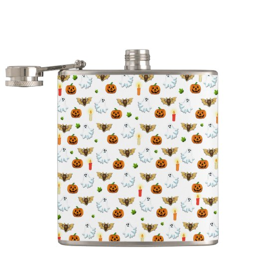 Halloween pattern hip flask