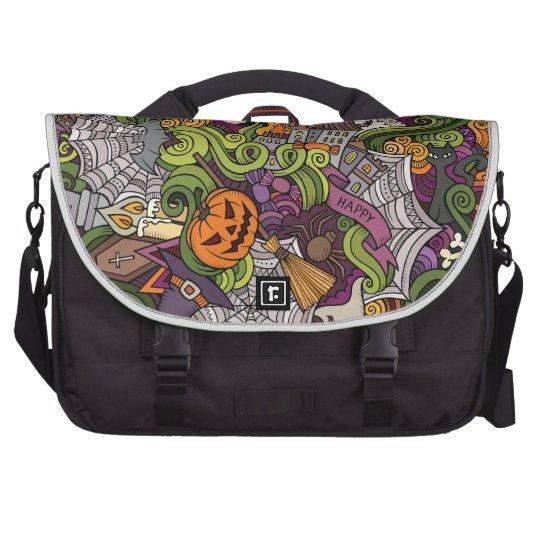 Halloween pattern laptop messenger bag