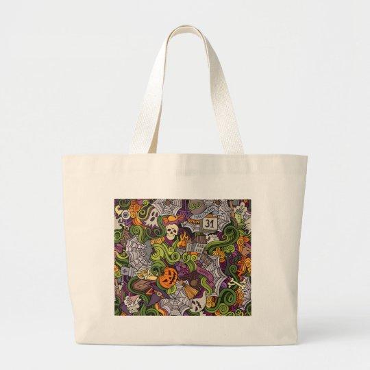 Halloween pattern large tote bag