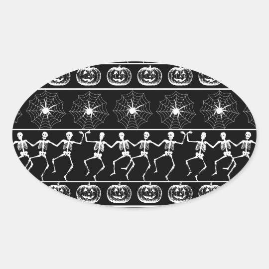 Halloween pattern oval sticker