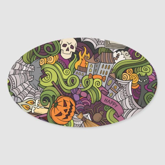 Halloween pattern oval sticker