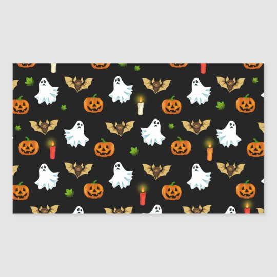 Halloween pattern rectangular sticker