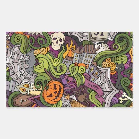 Halloween pattern rectangular sticker