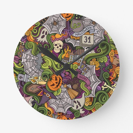 Halloween pattern round clock