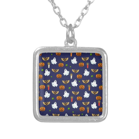 Halloween pattern silver plated necklace