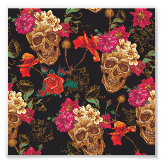 Halloween pattern,skulls,roses,gothic,black,trendy photo print