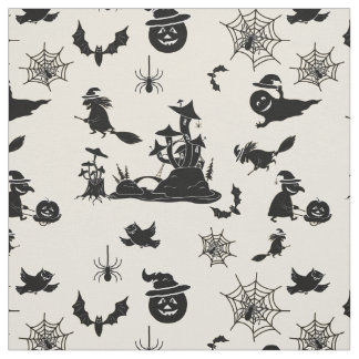 Halloween pattern with pumpkins bats witches fabric
