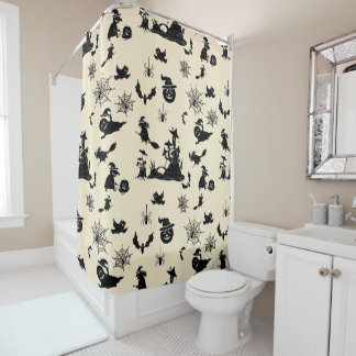 Halloween pattern with pumpkins bats witches shower curtain