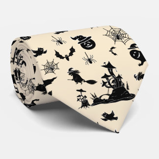 Halloween pattern with pumpkins bats witches tie