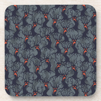 Halloween pattern with trees drink coaster