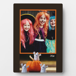 Halloween Photo Keepsake Plaque/ Ghosts & Pumpkins Plaque
