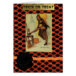 halloween pin up girl greetings card