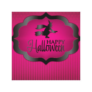 Halloween pink witch canvas print