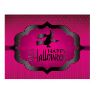 Halloween pink witch postcard