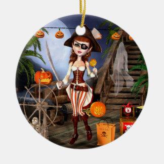 Halloween Pirate Girl Trick or Treasure Ornaments