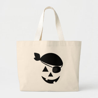 Halloween Pirate Pumpkin Face Tote Bags
