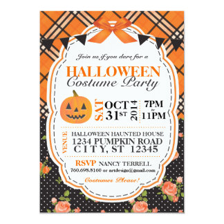 Halloween Plaid & Floral Invite