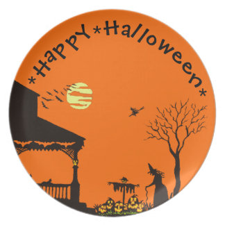 Halloween,plate,witches,scarecrow,black,cats Dinner Plate