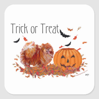 Halloween Pomeranian Square Sticker