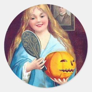 Halloween Postcard - Ellen Clapsaddle Classic Round Sticker