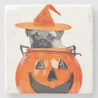 Halloween pug dog stone beverage coaster