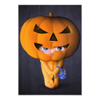 Halloween pumpkin 9 cm x 13 cm invitation card