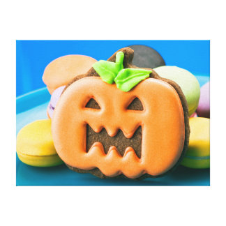 Halloween pumpkin and colorful cookies canvas print