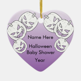 Halloween Pumpkin Baby Shower Heart Ornaments