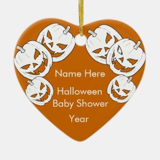 Halloween Pumpkin Baby Shower Heart Ornaments