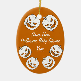 Halloween Pumpkin Baby Shower Oval Ornaments