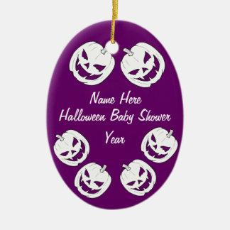 Halloween Pumpkin Baby Shower Oval Ornaments