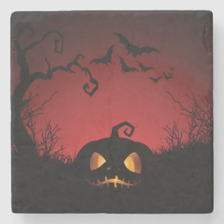 Halloween Pumpkin Background Stone Coaster