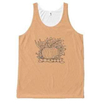 Halloween Pumpkin Black Line Art Design All-Over Print Singlet