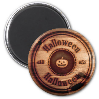 Halloween Pumpkin Burnt Wood Magnet