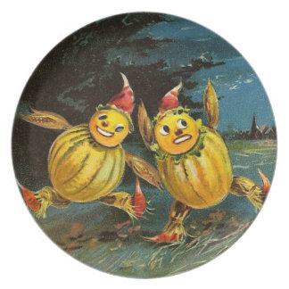 Halloween Pumpkin Characters and Witch Party Plate
