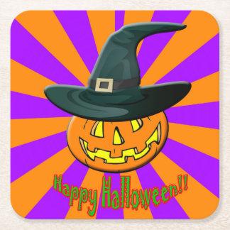 Halloween pumpkin  custom square coaster. square paper coaster