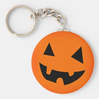 Halloween Pumpkin Face Basic Round Button Key Ring