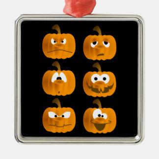 Halloween pumpkin face expressions metal ornament