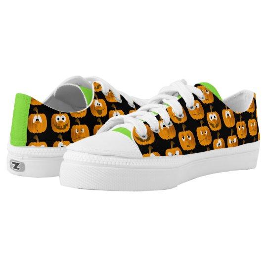 Halloween Pumpkin Faces Black Green Orange Sneaker